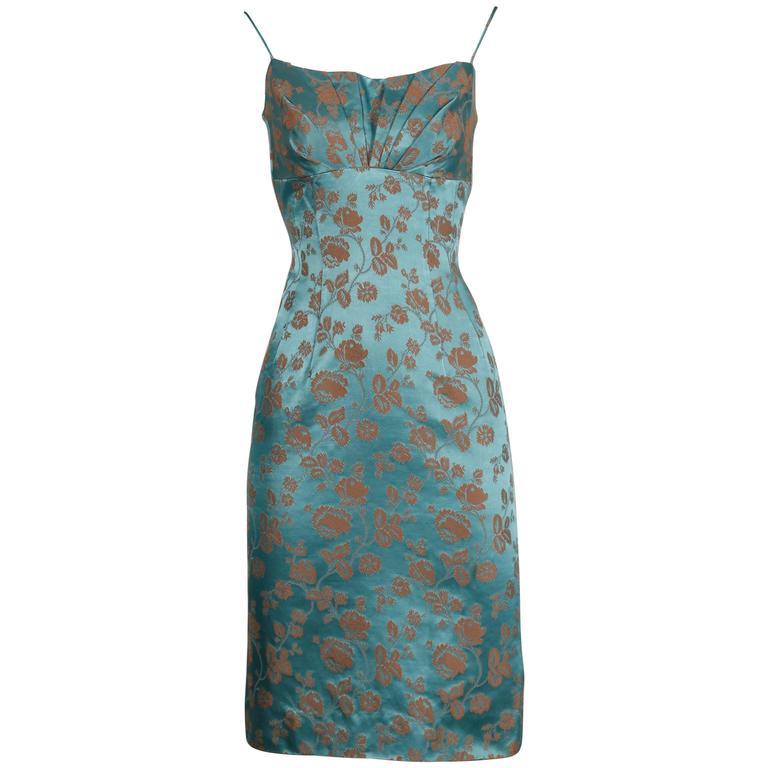 1950s Blue Satin Dress 1
