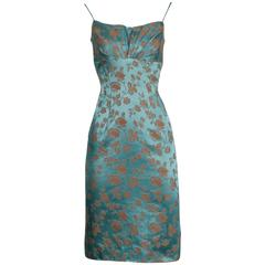 1950s Blue Satin Dress