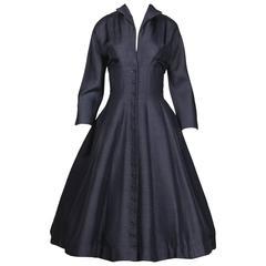 1950s Navy Blue Silk Dress