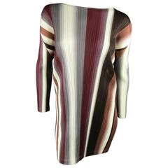 PLEATS PLEASE ISSEY MIYAKE Size S Burgundy Brown & Gray Striped Dress