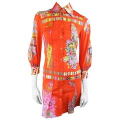 ETRO Size 4 Orange Mixed Print Cotton Pleated Shirt Dress
