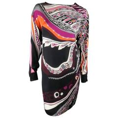 EMILIO PUCCI Size 6 Black Ornage & Pink Print Silk Long Sleeve Shift Dress