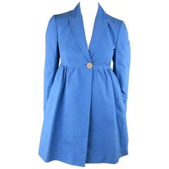 STELLA McCARTNEY Size 6 Blue Peak Lapel Empire Waist Full Skirt Coat