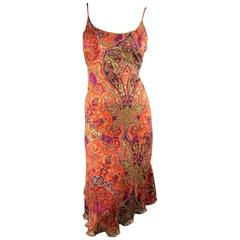 MAX MARA Size 10 Burnt Orange Burnout Paisley Silk Blend Slip Dress