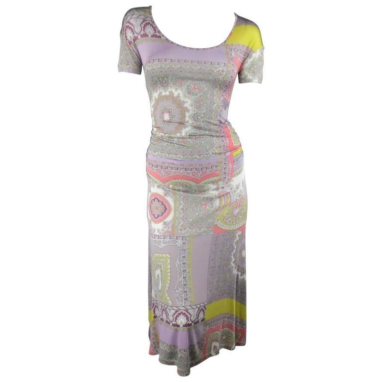 ETRO Size 4 Lavender Pastel Paisley Print Jersey Midi A line Dress
