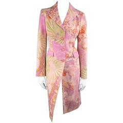 ETRO Size 8 Pink Orange Green & Purple Brocade Snake Print Silk Coat