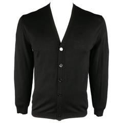 Men's GUCCI Size L Light Weight Black Wool V Neck Cardigan