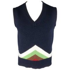 Men's MICHAEL BASTIAN Size M Navy Geometric Print Wool Blend Sweater Vest