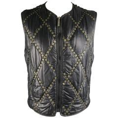 Men's MOSCHINO JEANS XL Black & Gold Qulited Studded Nylon Vest