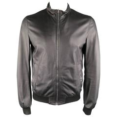 Men's GUCCI 40 Black Soft Leather High Collar Fitted Bomber Jacket