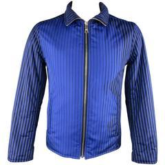 Men's PRADA 40 Blue & Black Stripe Nylon Fall 2008 Puffer Jacket
