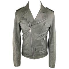 MARC JACOBS 38 Slate Distressed Leather Biker Jacket