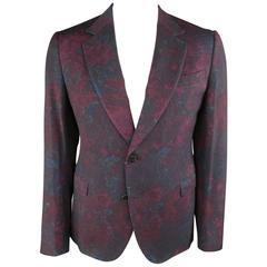 Men's New GUCCI 42 Regular Burgundy Floral Print Wool 2 Button Sport Coat