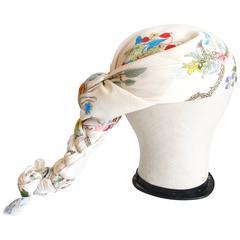 Rare 1970s Gucci Flora Silk Scarf