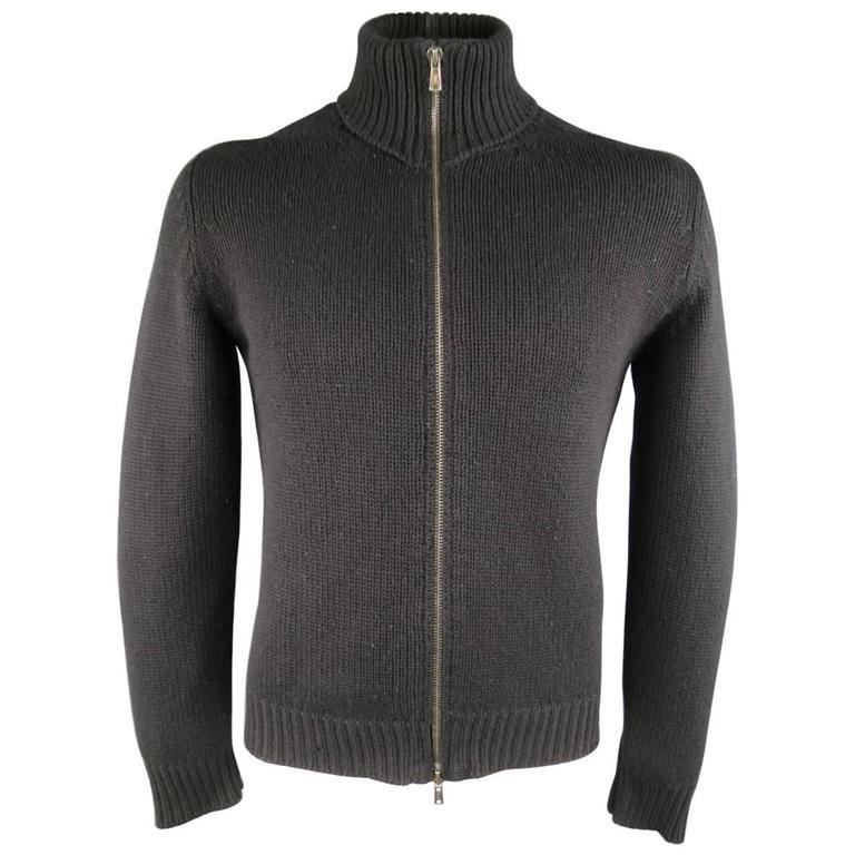 Men's YVES SAINT LAURENT Size M Black Knitted Cashmere Zip Cardigan 1