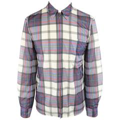 COMME des GARCONS Size M Navy & White Plaid Mesh Overlay Long Sleeve Zip Shirt