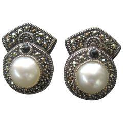 Judith Jack Opulent Sterling Marcasite Pear Clip Earrings