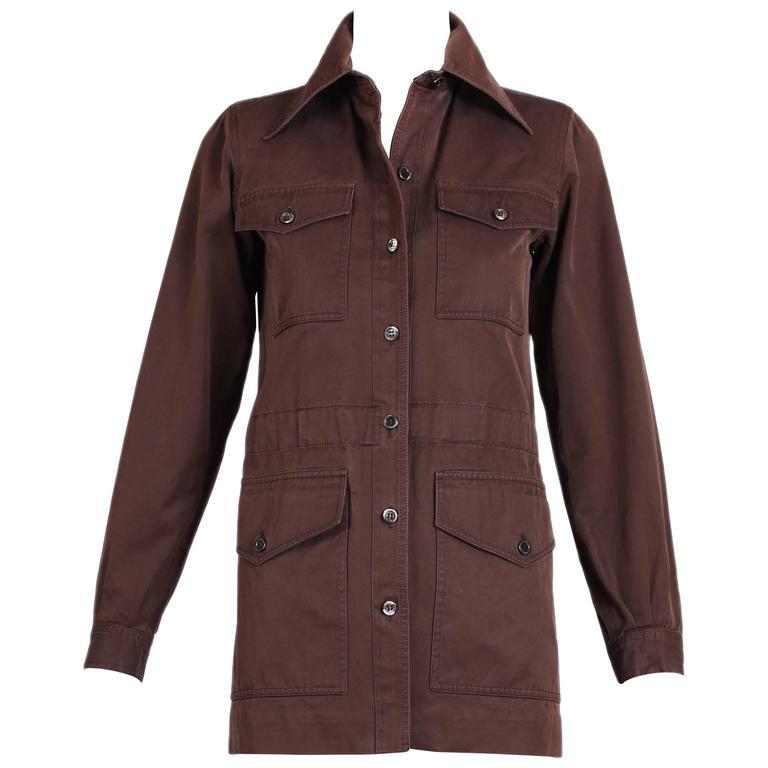 1970's Yves Saint Laurent YSL Brown Safari Jacket For Sale