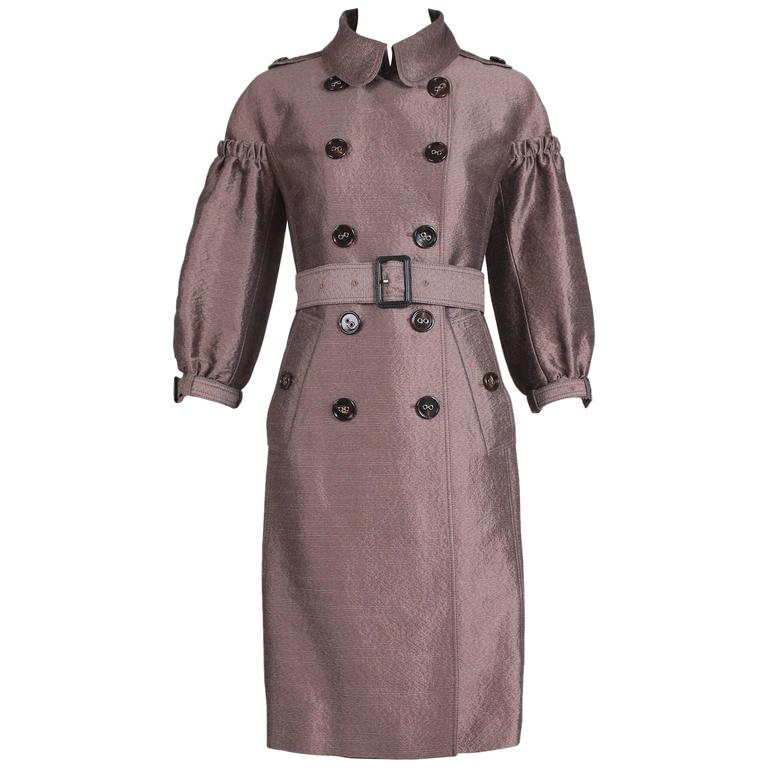 Burberry Porsum Mocha Trench Coat w/Puffed 3/4 Sleeves & Belt