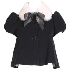 Vintage Jean-Paul Gaultier Black Velvet Jacket Top w/Fur Collar & Neck Ties