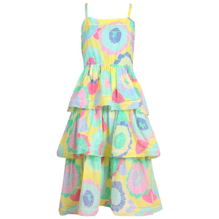 Albert Nipon Cotton Floral Multi-Colored Tiered Summer Dress
