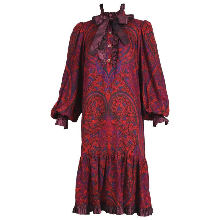 1970's Yves Saint Laurent YSL Paisley Smock Dress w/Taffeta Trim & Neck Ties For Sale