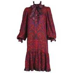 1970's Yves Saint Laurent YSL Paisley Smock Dress w/Taffeta Trim & Neck Ties