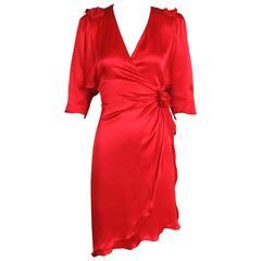 1970's Holly's Harp Red Silk Charmeuse Wrap Dress w/Rosettes & Asymmetric Hem