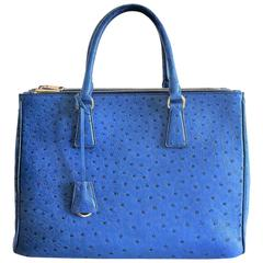 Prada Cobalt Blue Ostrich Leather 'Galleria' Crossbody Tote Bag, pristine status