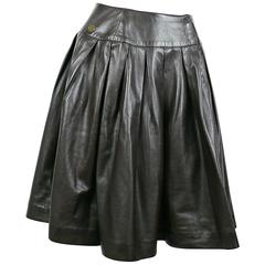 Chanel Fall 2001 Brown Leather Pleated Skirt Size FR 38