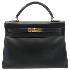 Hermes Kelly 32 Noir Box Calf Leather GHW Top Handle Bag