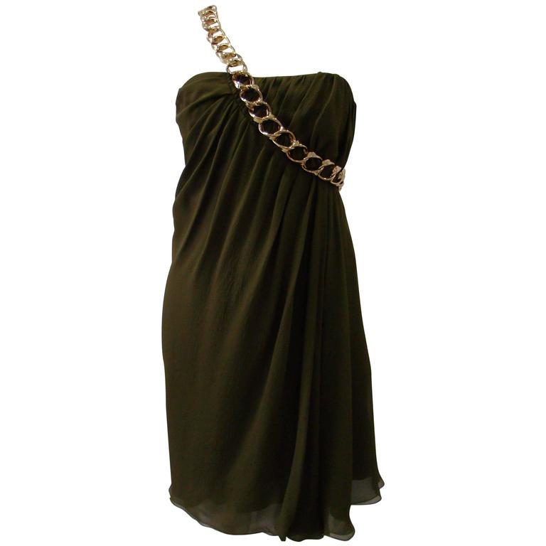 Pierre Balmain Silk Chain Detail Cocktail Dress