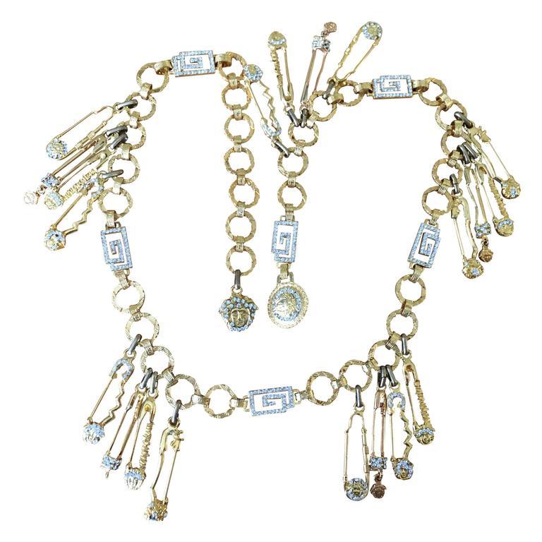 Gianni Versace Rare Vintage Crystal Embellished Greek Key Safety Pin Medusa Bel For Sale