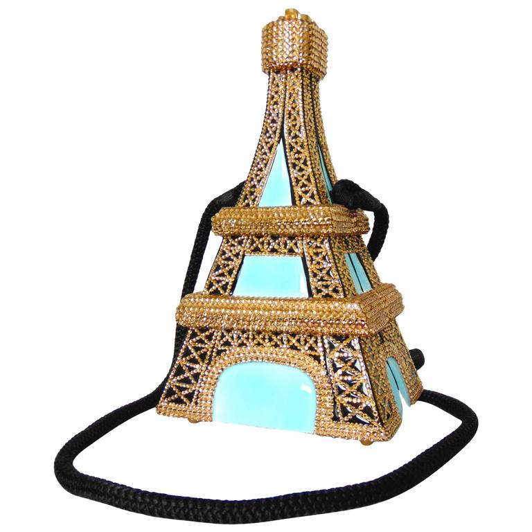 Timmy Woods Beverly Hills Embellished Eiffel Tower Bag Limited Edition Signed  For Sale
