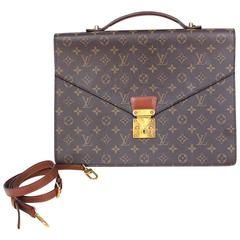 100% Authentic Louis Vuitton Monogram Monceau Briefcase Brown Satchel