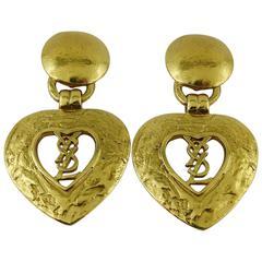 Yves Saint Laurent YSL Vintage Gold Toned Heart Dangling Earrings