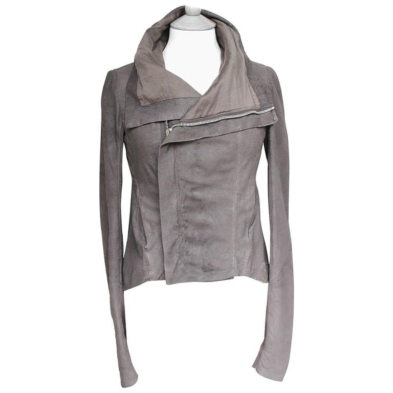 Rick Owens Celebrity Taupe brown blistered washed leather jacket UK 10   1