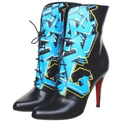 CHRISTIAN LOUBOUTIN Madison Graffiti Black Leather Boots 38 uk 5