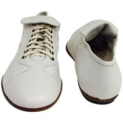 Men's Gucci Vintage Soft Leather sneaker Style Shoe in White, Italian Size 43 E