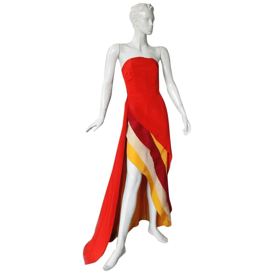 Rosie Assoulin Exotic Evening Asymmetric Colorblock Dress Gown   New Condition!