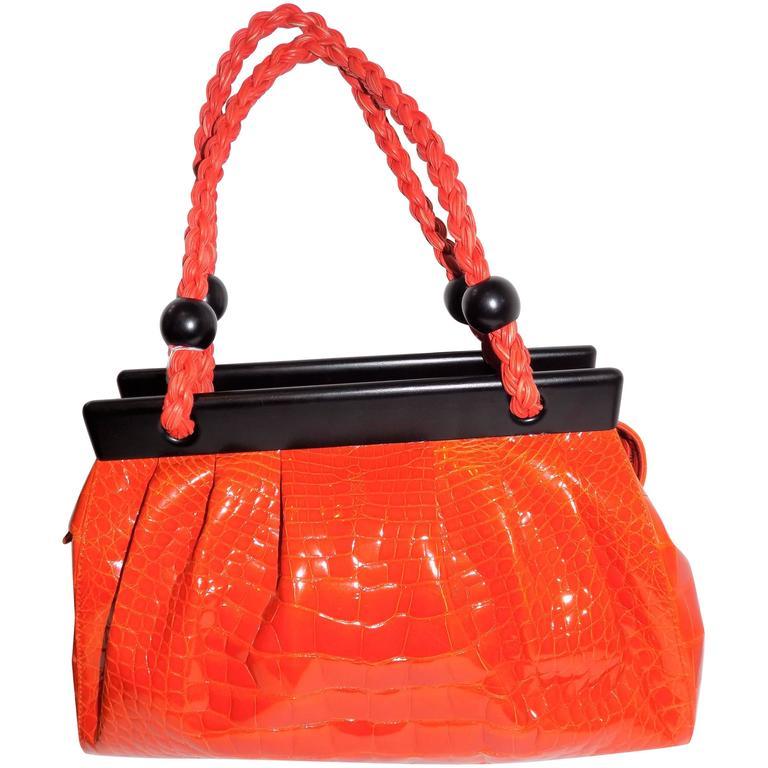 Luxury Suarez Alligator  bag with ebony frame . New! 1