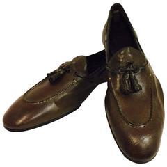Men's Raparo Italian Tassel Loafer in Antiqued Olive/Brown Size  8 1/2