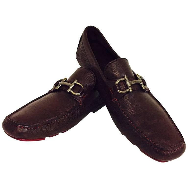 Men's Salvatore Ferragamo Leather Driving Shoes in Cocoa Brown Size  8 1/2