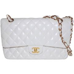 White Lamb Skin Quilted Medium Classic Double Flap Shoulder Bag