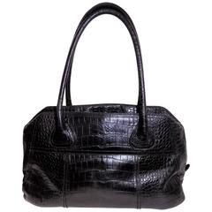 Prada Black Large Croco Bowling Bag