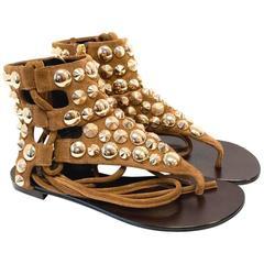 Guiseppe Zanotti Design Tan Leather Studded Thong Sandals