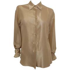 Chanel Gold Metallic Blouse Shirt Tunic