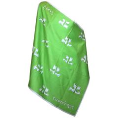 Andre Courreges Cotton Sateen Logo Scarf