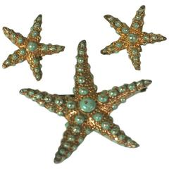 Ralph DeRosa Sterling Vermeil Retro Starfish Suite