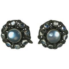 Lovely Moonstone Cabochon Earrings